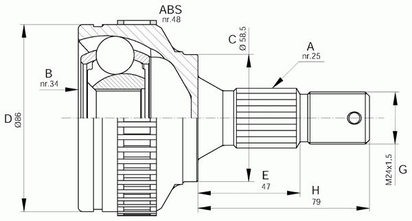Шарнирный комплект, приводной вал OPEN PARTS CVJ5593.10