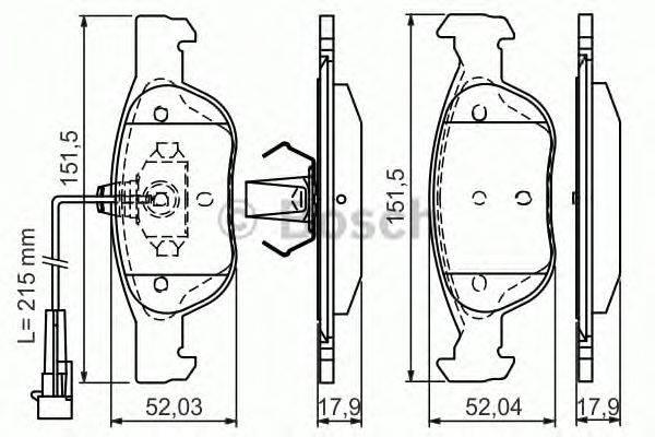BOSCH (НОМЕР: 0 986 495 002) Комплект тормозных колодок, дисковый тормоз