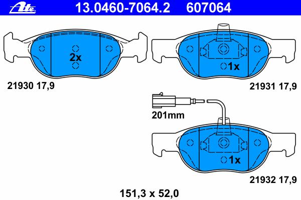 ATE (НОМЕР: 13.0460-7064.2) Комплект тормозных колодок, дисковый тормоз