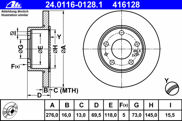 ATE (НОМЕР: 24.0116-0128.1) Тормозной диск