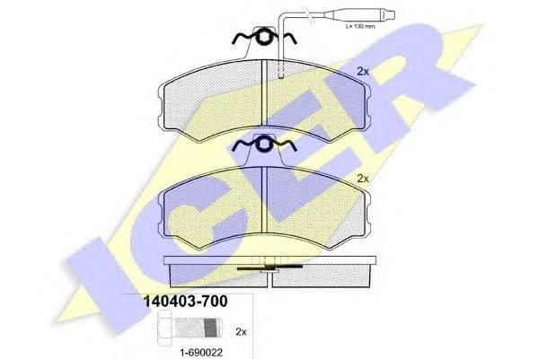 Комплект тормозных колодок, дисковый тормоз ICER 140403-700