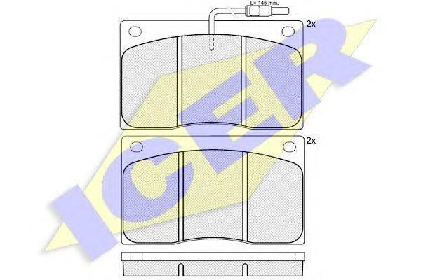 Комплект тормозных колодок, дисковый тормоз ICER 140544