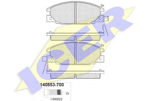 Комплект тормозных колодок, дисковый тормоз ICER 140853-700
