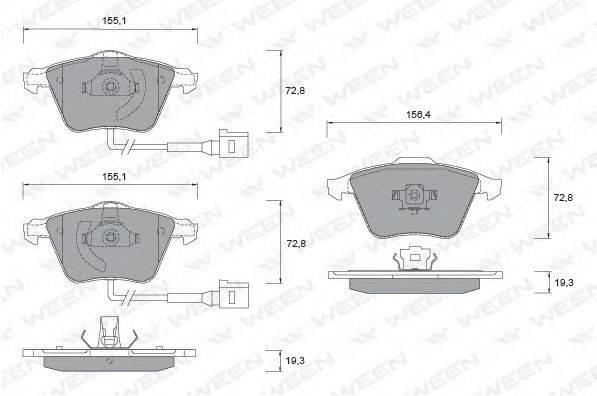 Комплект тормозных колодок, дисковый тормоз WEEN 151-1254