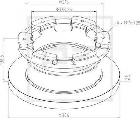 PE Automotive (НОМЕР: 026.671-10A) Тормозной диск