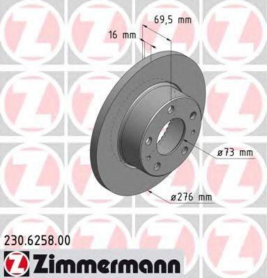 Тормозной диск ZIMMERMANN 230.6258.00
