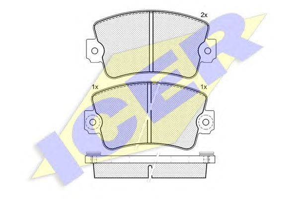 Комплект тормозных колодок, дисковый тормоз ICER 140365