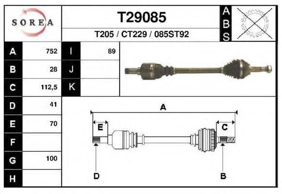 Приводной вал EAI T29085