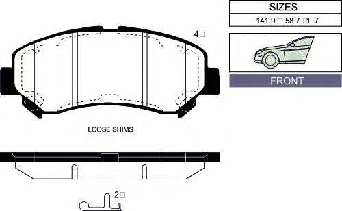 Комплект тормозных колодок, дисковый тормоз GOODWILL 1026 F