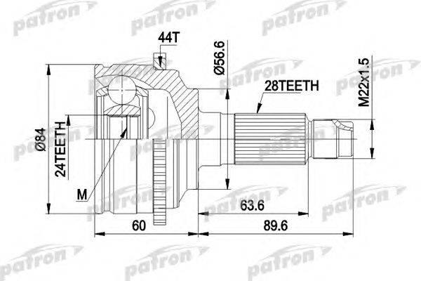 Шарнирный комплект, приводной вал PATRON PCV3028