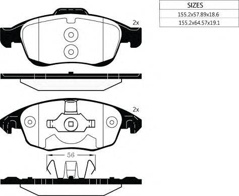 Комплект тормозных колодок, дисковый тормоз GOODWILL 1057 F