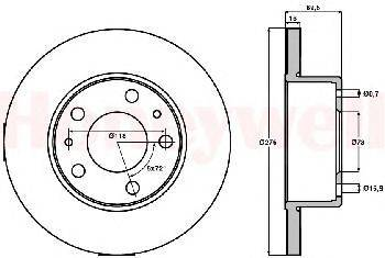 Тормозной диск BENDIX 569106B