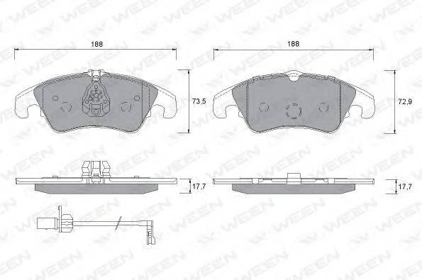 Комплект тормозных колодок, дисковый тормоз WEEN 151-1259