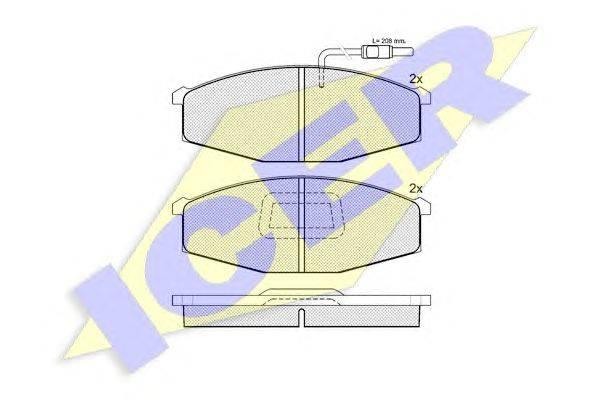Комплект тормозных колодок, дисковый тормоз ICER 140694