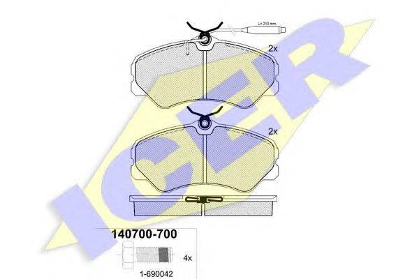 Комплект тормозных колодок, дисковый тормоз ICER 140700