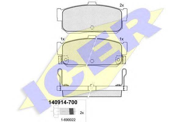 Комплект тормозных колодок, дисковый тормоз ICER 140914-700