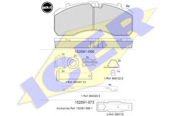 ICER (НОМЕР: 152091-066) Комплект тормозных колодок, дисковый тормоз