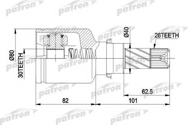 Шарнирный комплект, приводной вал PATRON PCV3032