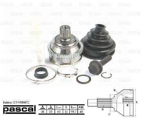 PASCAL (НОМЕР: G1W006PC) Шарнирный комплект, приводной вал