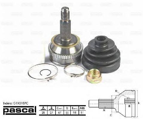 PASCAL (НОМЕР: G1X018PC) Шарнирный комплект, приводной вал