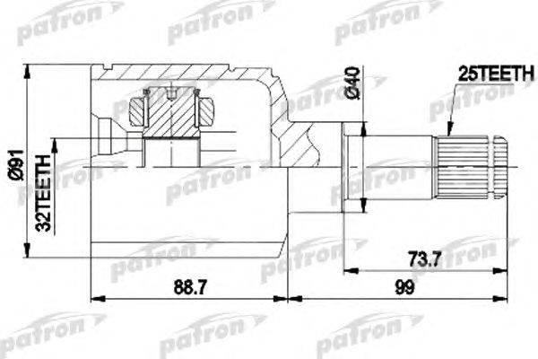 Шарнирный комплект, приводной вал PATRON PCV9538