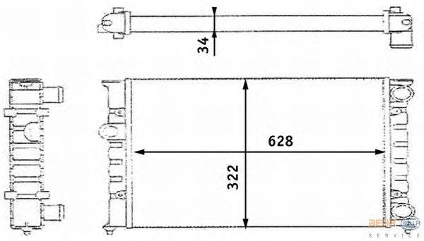 Радиатор, охлаждение двигателя HELLA 8MK376713421
