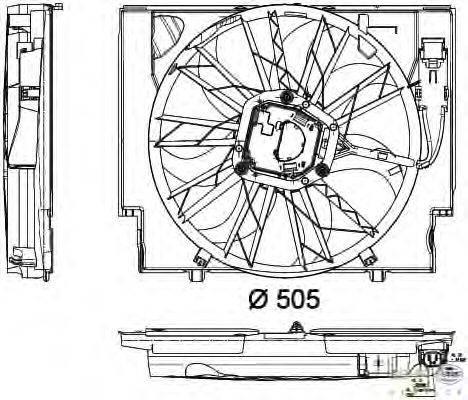 Вентилятор, охлаждение двигателя BEHR HELLA SERVICE 8EW 351 040-421