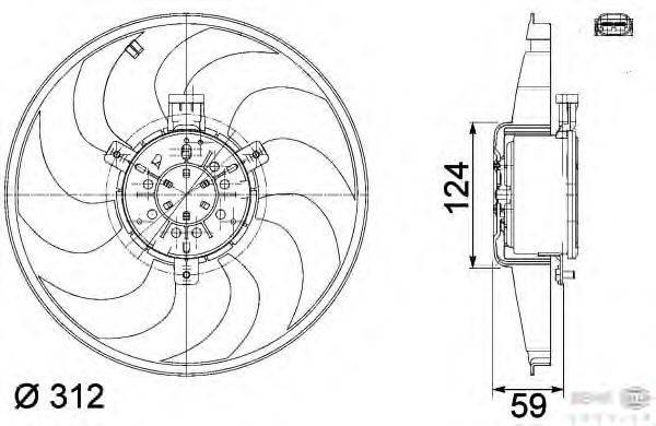 Вентилятор, охлаждение двигателя BEHR HELLA SERVICE 8EW 351 041-261