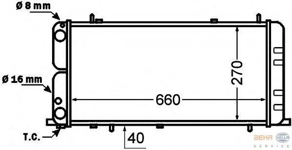 Радиатор, охлаждение двигателя BEHR HELLA SERVICE 8MK 376 705-731