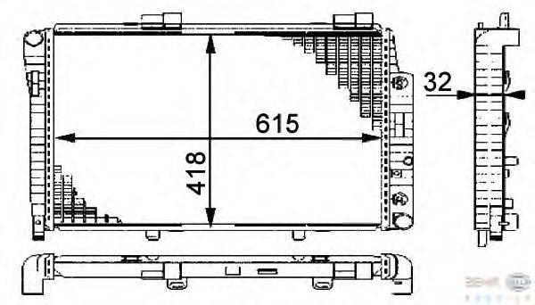 Радиатор, охлаждение двигателя BEHR HELLA SERVICE 8MK 376 712-021