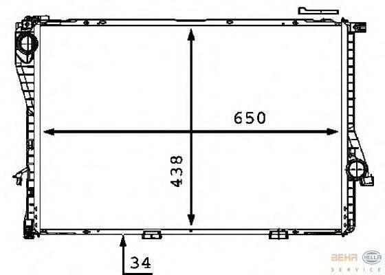 Радиатор, охлаждение двигателя BEHR HELLA SERVICE 8MK 376 712-481