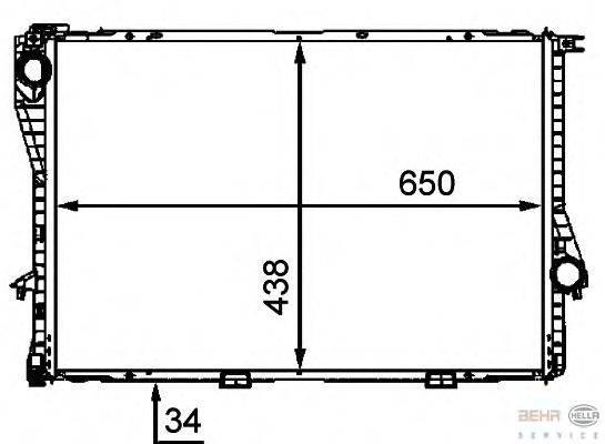Радиатор, охлаждение двигателя BEHR HELLA SERVICE 8MK 376 712-491