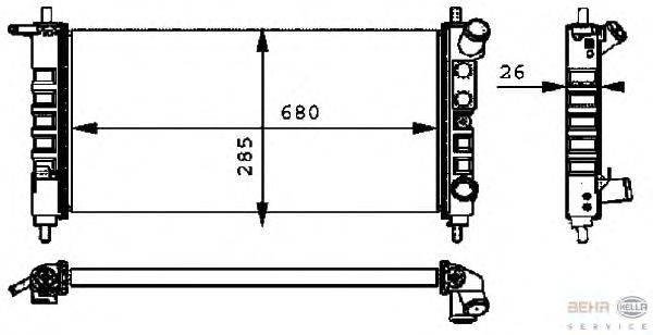 Радиатор, охлаждение двигателя BEHR HELLA SERVICE 8MK 376 712-701
