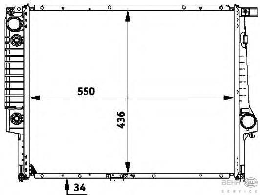 Радиатор, охлаждение двигателя BEHR HELLA SERVICE 8MK 376 713-091
