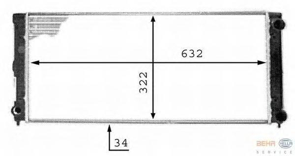 Радиатор, охлаждение двигателя BEHR HELLA SERVICE 8MK 376 713-351