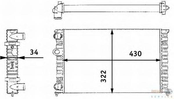 Радиатор, охлаждение двигателя BEHR HELLA SERVICE 8MK 376 713-744
