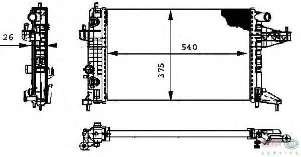 Радиатор, охлаждение двигателя BEHR HELLA SERVICE 8MK 376 714-351
