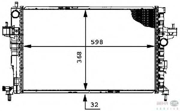 Радиатор, охлаждение двигателя BEHR HELLA SERVICE 8MK 376 714-381