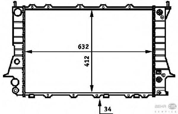 Радиатор, охлаждение двигателя BEHR HELLA SERVICE 8MK 376 715-081