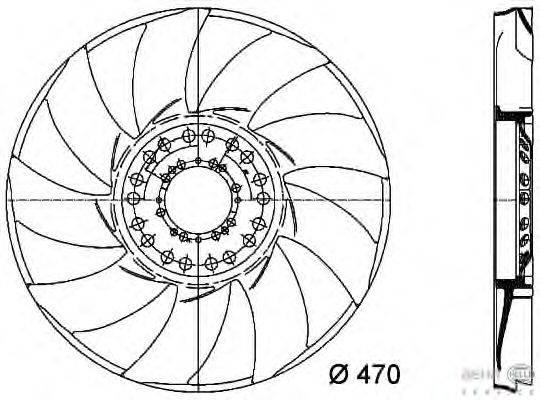 Крыльчатка вентилятора, охлаждение двигателя BEHR HELLA SERVICE 8MV 376 733-241