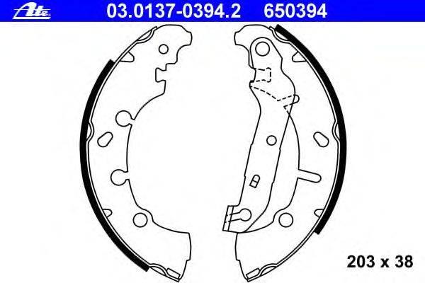 ATE (НОМЕР: 03.0137-0394.2) Комплект тормозных колодок