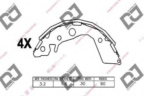 DJ PARTS (НОМЕР: BS1333) Комплект тормозных колодок