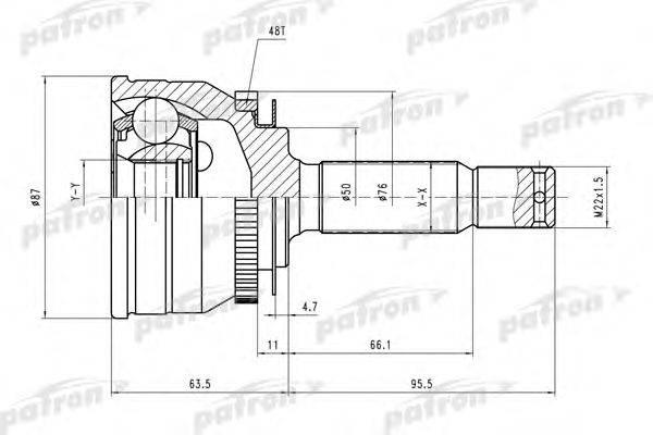 Шарнирный комплект, приводной вал PATRON PCV1607