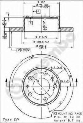 Тормозной диск BREMBO 08.7300.20
