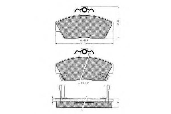 Комплект тормозных колодок, дисковый тормоз PEX 7.135