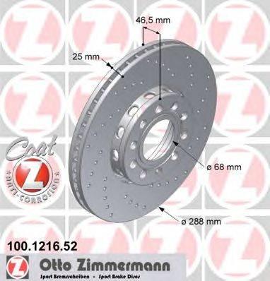 Тормозной диск ZIMMERMANN 100.1216.52