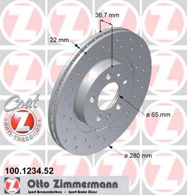 Тормозной диск ZIMMERMANN 100.1234.52