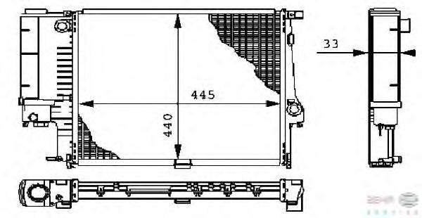 Радиатор, охлаждение двигателя BEHR HELLA SERVICE 8MK 376 711-081
