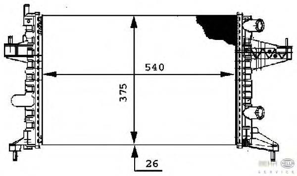 Радиатор, охлаждение двигателя BEHR HELLA SERVICE 8MK 376 714-341