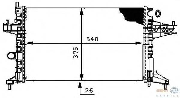 Радиатор, охлаждение двигателя BEHR HELLA SERVICE 8MK 376 714-361